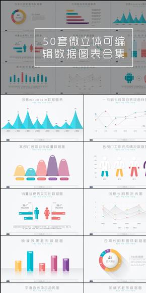 【EXCEL数据图表系列】第一季合集-50张微立体可编辑数据图表合集