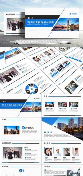 【雪原作品】精美蓝色企业简介演示模板