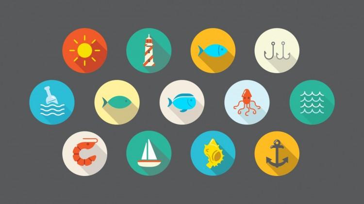 我要定制 商品标签: 扁平化卡通风海洋图标 模板类型: 静态模板 商品