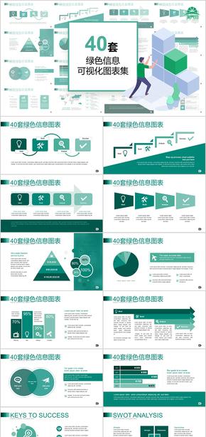 40套绿色浅背景信息可视化PPT图表