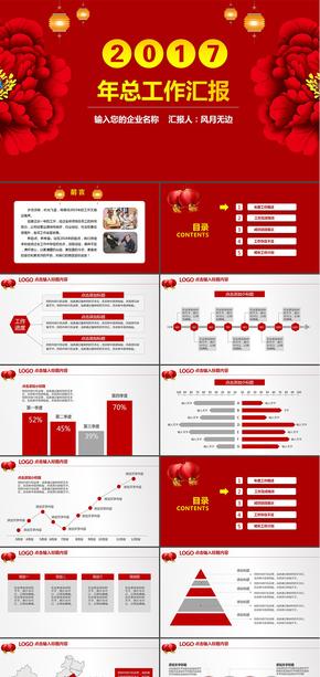 17年红色大气年终总结工作计划PPT模板-中国风采中药行业PPT模板
