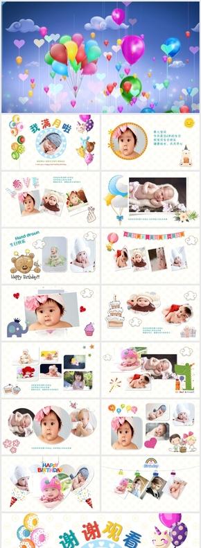 儿童成长生日快乐满月庆典电子相册PPT