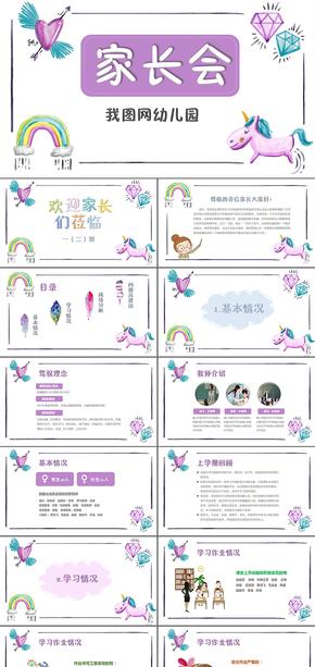 紫色水彩小学新学期家长会ppt模板