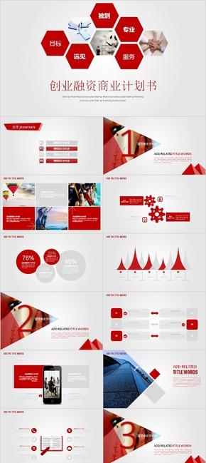 红色典雅商务商业投资融资商业计划书PPT模板