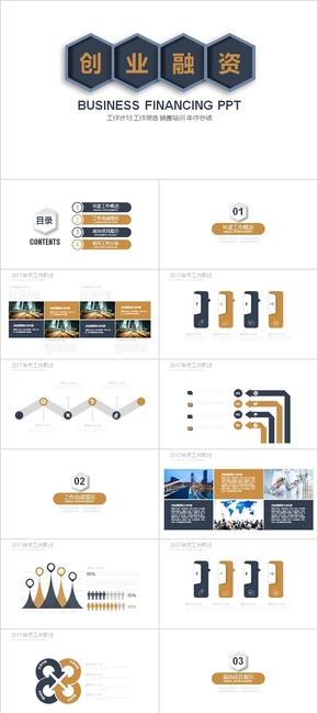 深蓝金色高贵商业商务投资融资商业计划书PPT模板