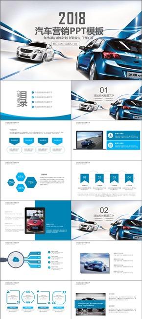 蓝色简约汽车美容品牌推广运营商业计划书PPT模板