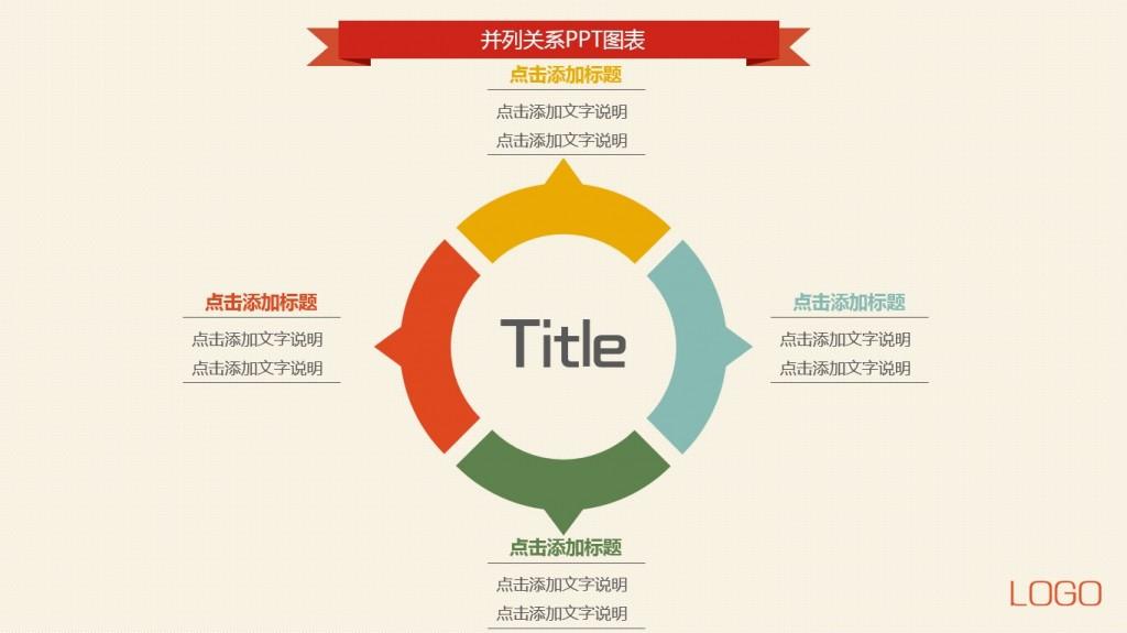 【熱賣】圓環向外并列關系ppt圖表