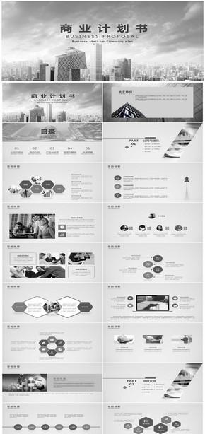 欧美简约大气商业计划书PPT模板