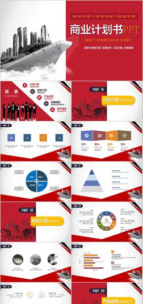 高端大气红色商业计划书PPT模板  商业计划书 创业计划书 项目评估 创业投资 项目策划 商业策划