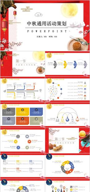 中秋佳节活动策划PPT模板 八月十五 月饼节