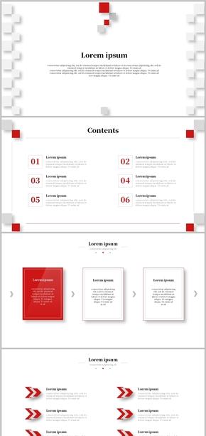 紅黑、簡約、極簡、微立體、工作匯報、工作總結模版