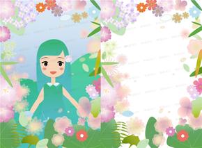 花朵、绿叶、春季、卡通人物、边框、清新、透明背景素材[2图][原创][可作为设计师素材][可商用]