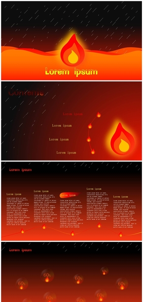 雨与火焰主题商务报告模版