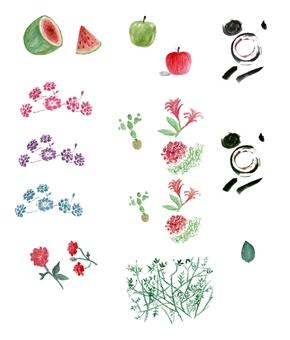 水彩、花朵、水果、墨迹、手绘、高清透明背景素材[13图][原创][可转售][可商用]