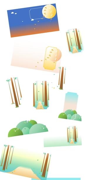 矢量、插画、风景、小清新[13图][透明背景][内含高清大图][原创][可转售][可商用]