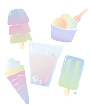 夏日、冷饮、甜筒、冰淇淋、矢量风格[5图][透明背景][内含高清大图][原创][可转售][可商用]