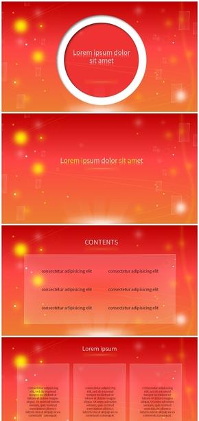 红色、工作总结、工作汇报、大气、PPT模版