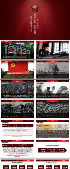 红色大气建党节宣传PPT模版