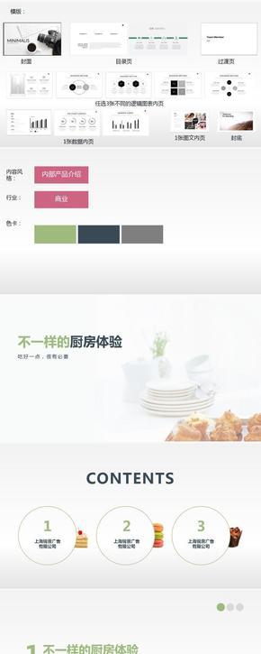 白绿搭色商务产品介绍PPT模版
