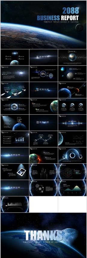高端动态科技美感互联网震撼IOS风星空汇报计划年终策划方案PPT模板01