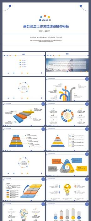 色彩斑斓年终总结毕业答辩工作汇报教师课件述职报告商务计划书PPT图表电力能源安全工作项目总结黄色模板