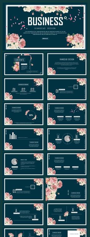 【香草PPT】汇报趣味春天植物花卉课件青春商务毕业答辩设计杂志模板