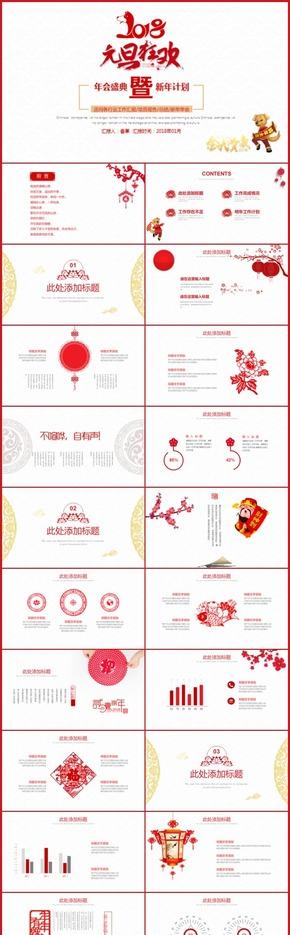 【香草PPT】红色元旦狂欢新年快乐新年计划简约喜庆大气时尚林业农业石化能源通用模板
