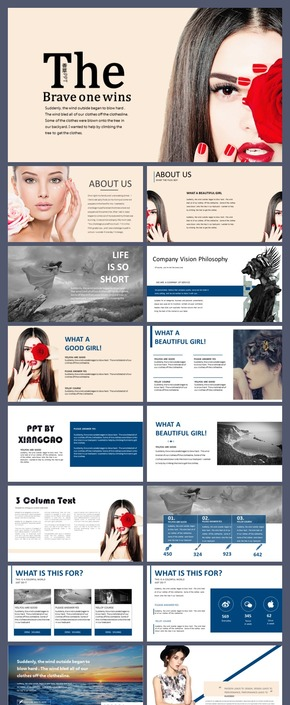 【香草PPT】时尚杂志香奈儿奢侈品传媒排版年终总结化妆品模特英文调查发布会路演PPT模板