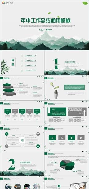年中工作總結綠色森林環保垃圾分類健康藥房衛生安全清新大氣簡約通用模板