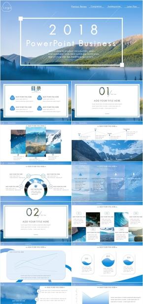 蓝色简约大气商务工作计划汇报PPT模板