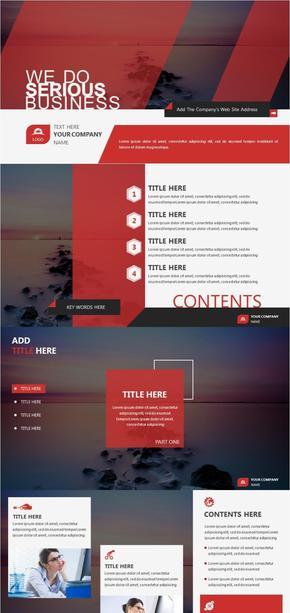 【归一演示】大气红色扁平杂志风格几何商务工作汇报计划总结管理咨询PPT模板