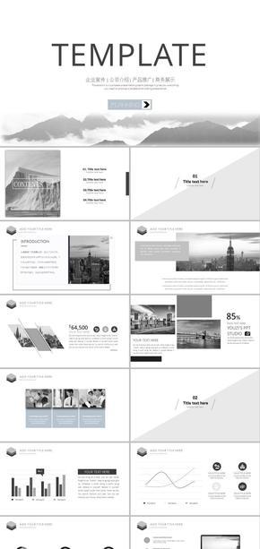 素雅黑白简约高端企业策划商务汇报公司宣传培训讲座总结计划ppt模板