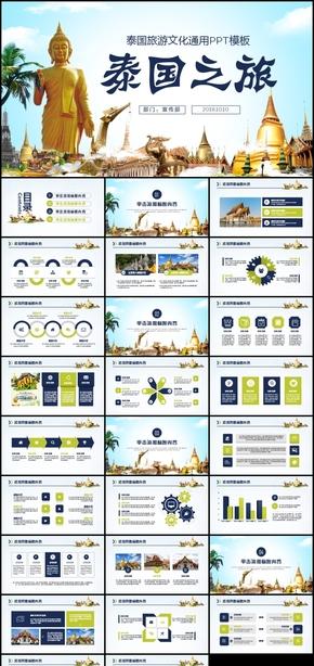 泰国旅游风景介绍宣传旅游团公司策划PPT模板