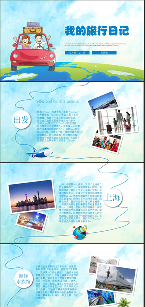 我的春节旅行日志电子相册PPT模板