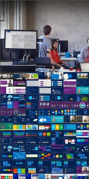 瞬间变为PPT高手,扁平化-微软win8风格,套图408张。