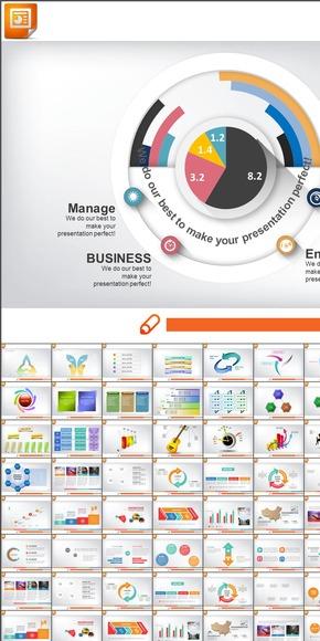 扁平化-PPT咨询汇报模板-并列组合关系图表合集
