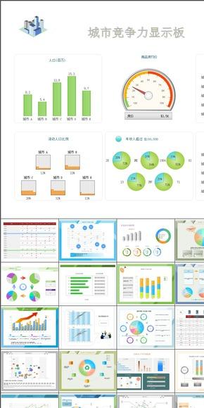 蓝色扁平化 史上最强大的项目咨询图表分析决策模板