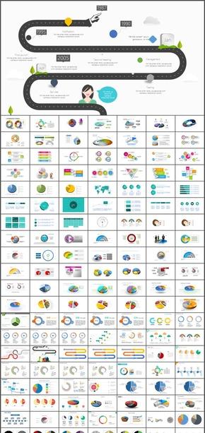 PPT智能助手,PPT统计图表(饼图)及相关业务图形,全套图表模板近500张 可任意套用