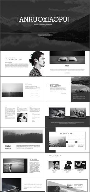 黑白欧美杂志排版时尚商务风格动态PPT模板