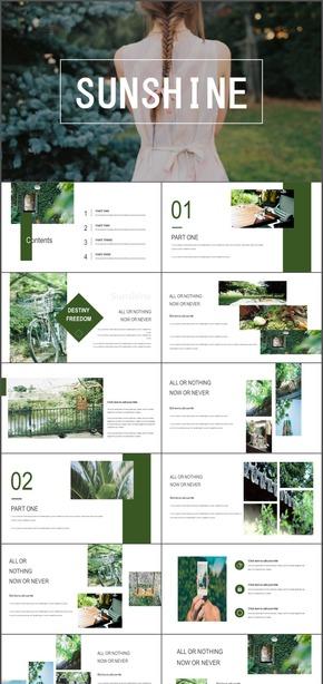 小清新淡雅自然杂志风旅行画册PPT模板