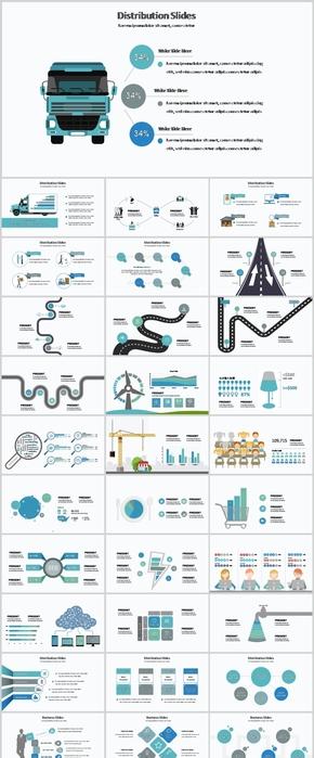 青绿色运输物流行业、能源集合PPT图表40页