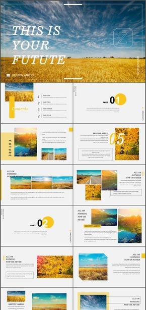 金秋稻麦自然风景杂志摄影小清新文艺旅游画册动态PPT模板