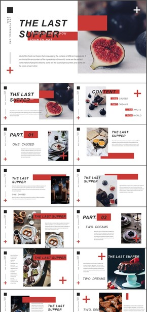 产品展示黑白红色调西式餐点无花果欧式画册杂志风简约时尚