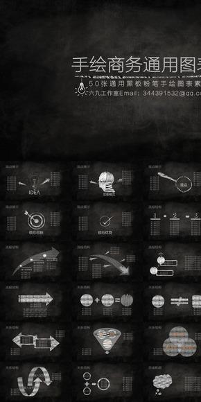 50张手绘PPT通用图表合集黑板粉笔图表素材毕业答辩教育商务通用PPT手绘图表