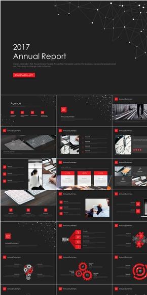【简一设计】红黑精致点线科技感商务PPT模板