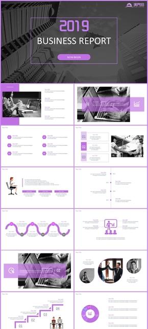 紫色简约大气欧美风商务公司工作汇报年终总结模板