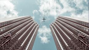 商务飞机背景,建筑背景,高清背景大图,建筑大楼,建工大楼图