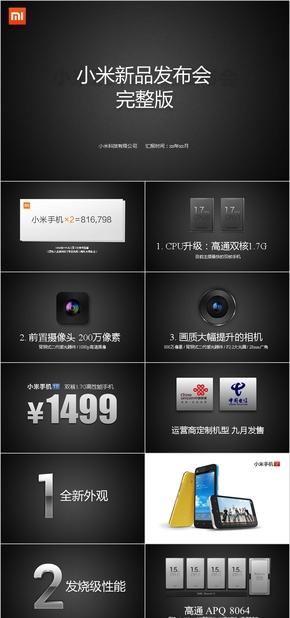 手机发布会PPT模板、手机产品发布,PPT模板,黑色商务风格