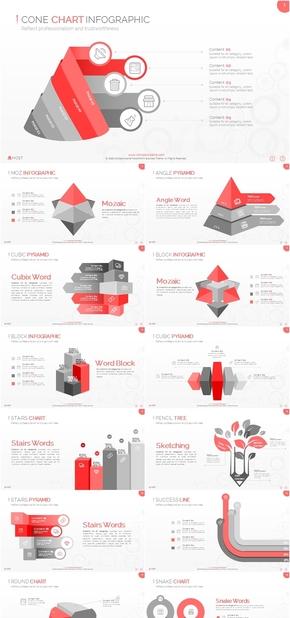 西瓜红色商务PPT图表合集