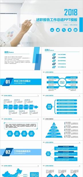 蓝白商务述职报告工作总结ppt模板